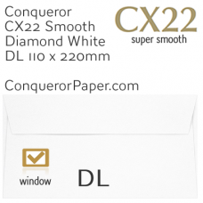 Envelopes CX22 Diamond White Window DL-110x220mm 120gsm