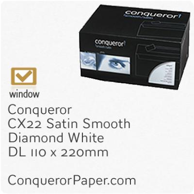 Envelopes CX22 Diamond White Window DL-110x220mm 120gsm