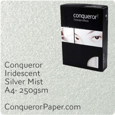 Paper Iridescent Silver Mist A4-210x297mm 250gsm