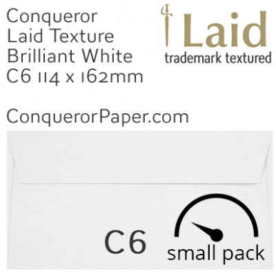 Envelopes Laid Brilliant White C6-114x162mm 120gsm 50 Pack