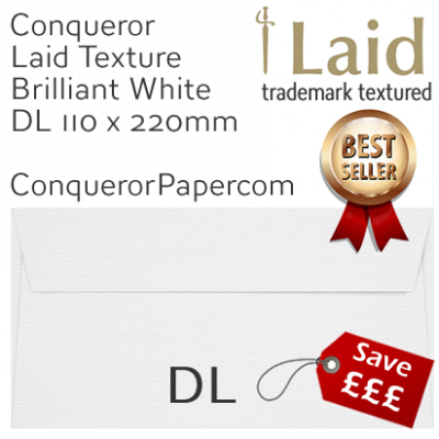 Envelopes Laid Brilliant White DL-110x220mm 120gsm