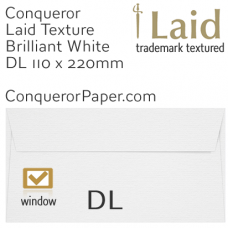 Envelopes Laid Brilliant White Window DL-110x220mm 120gsm
