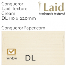Envelopes Laid Cream Window DL-110x220mm 120gsm
