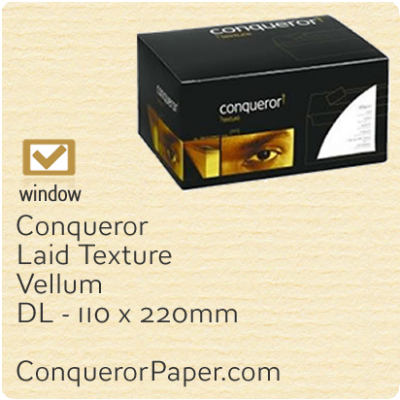 Envelopes Laid Vellum Window DL-110x220mm 120gsm