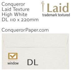 Envelopes Laid High White Window DL-110x220mm 120gsm