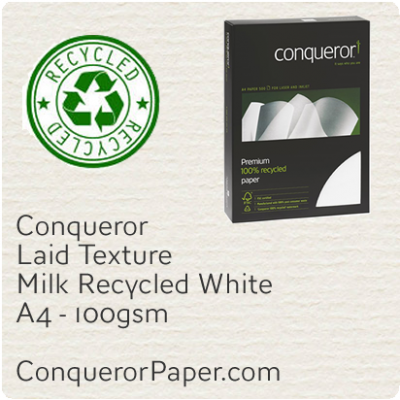Recycled Paper Laid Milk White A4-210x297mm 100gsm