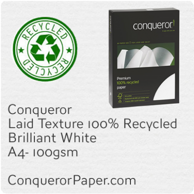 Recycled Paper Laid Brilliant White A4-210x297mm 100gsm