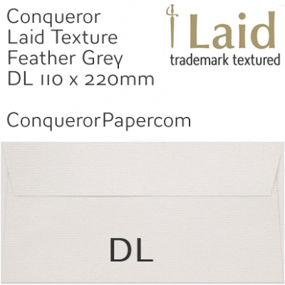 Envelopes Laid Feather Grey DL-110x220mm 120gsm