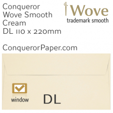 Envelopes Wove Cream Window DL-110x220mm 120gsm