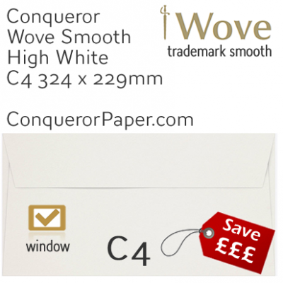 Envelopes Wove High White Window C4-324x229mm 120gsm