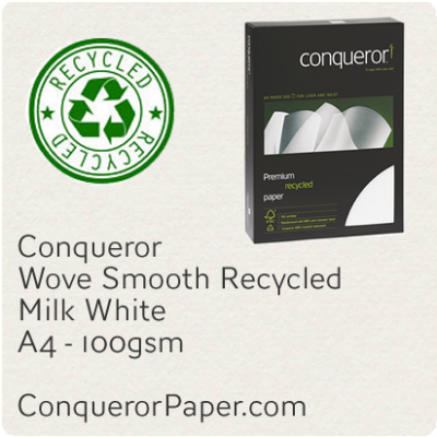 Recycled Paper Wove Milk White A4-210x297mm 100gsm